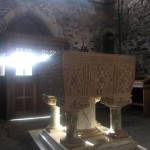 the baptismal font in the Abbey Church