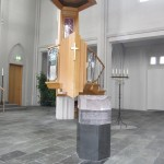 font and pulpit at Hallgrmskirkja